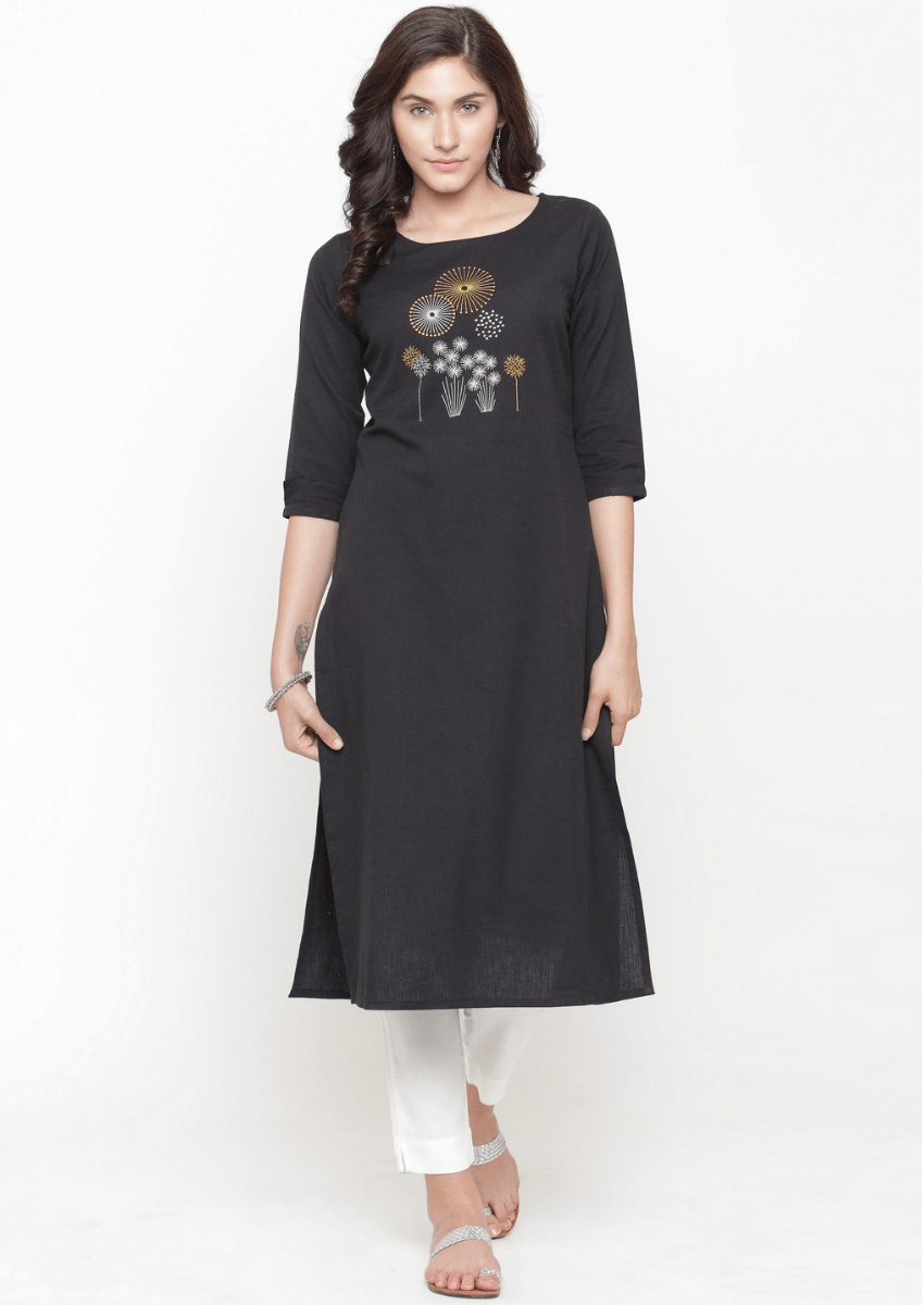 Black Readymade Cotton Blend Long Kurti