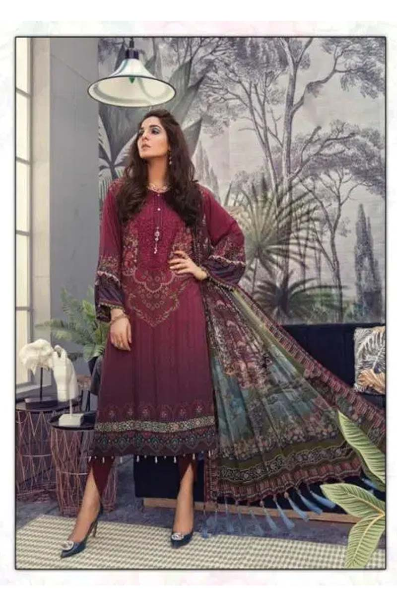 New Designer Cotton Salwar Suit In  Dark Red Colour