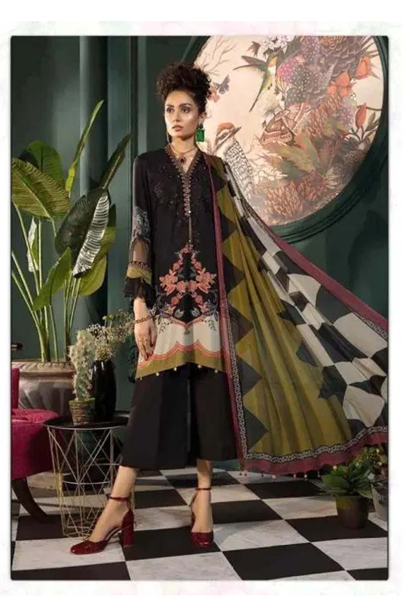 New Designer Cotton Salwar Suit In Black Colour