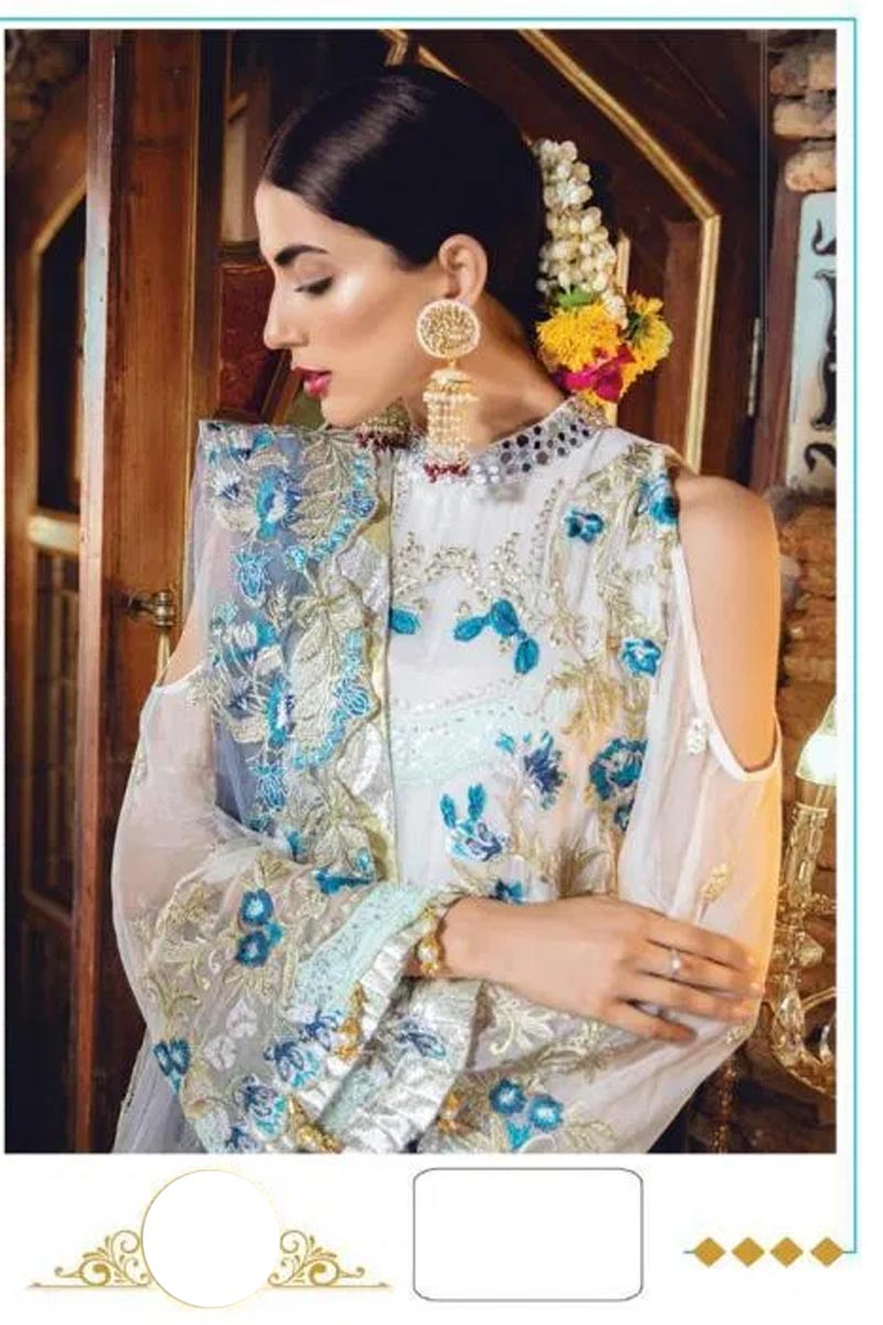 Designer Georgette And Net With Heavy Embroidery Work Salwar Kameez in White & Blue Color