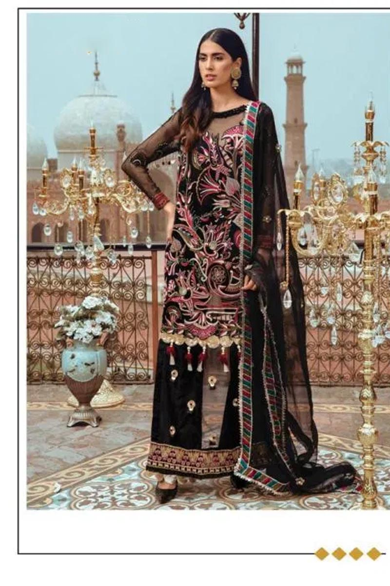 Designer Georgette And Net With Heavy Embroidery Work Salwar Kameez in Black Color