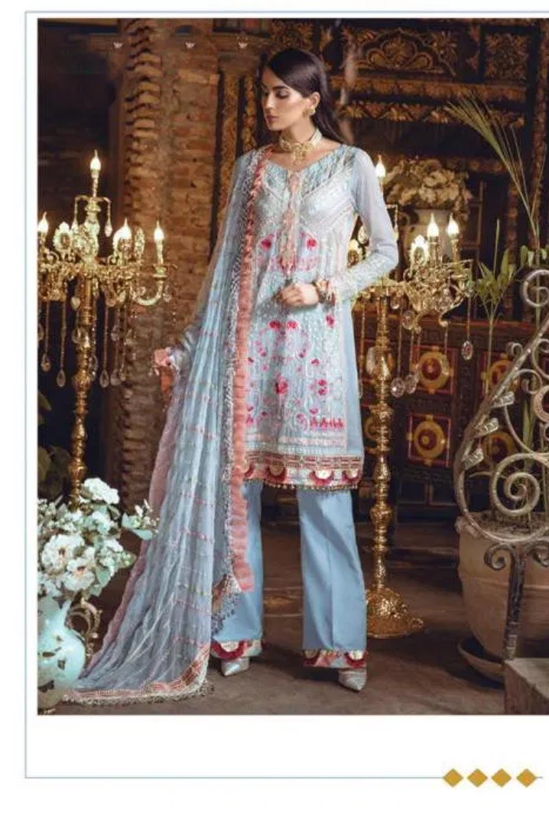 Designer Georgette And Net With Heavy Embroidery Work Salwar Kameez in Aqua Blue Color