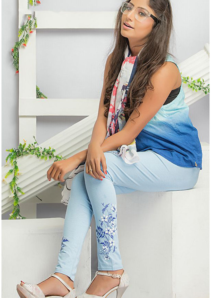 Sky Blue Printed Legging