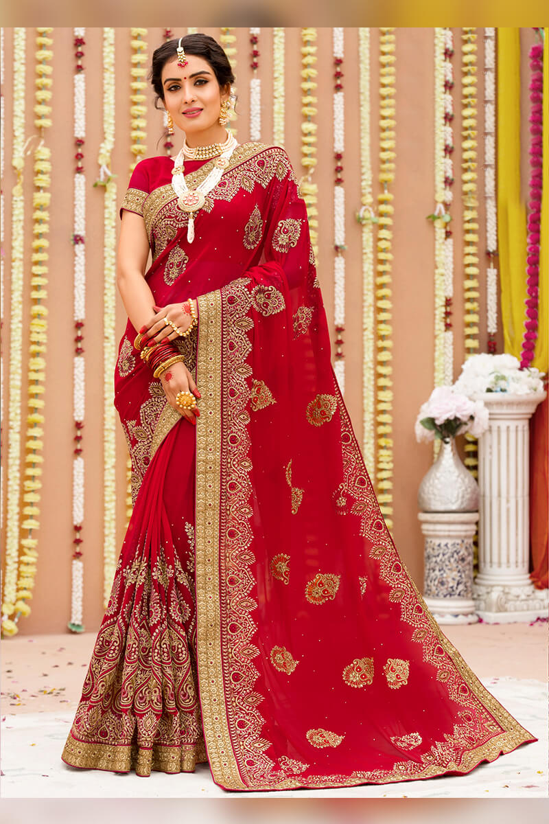 Royal Red Semi Bridal Wear Embroidered Georgette Saree