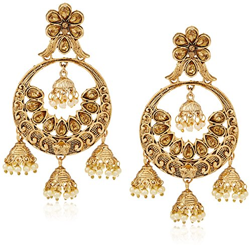 Traditional Drop Earrings for Women (Golden)