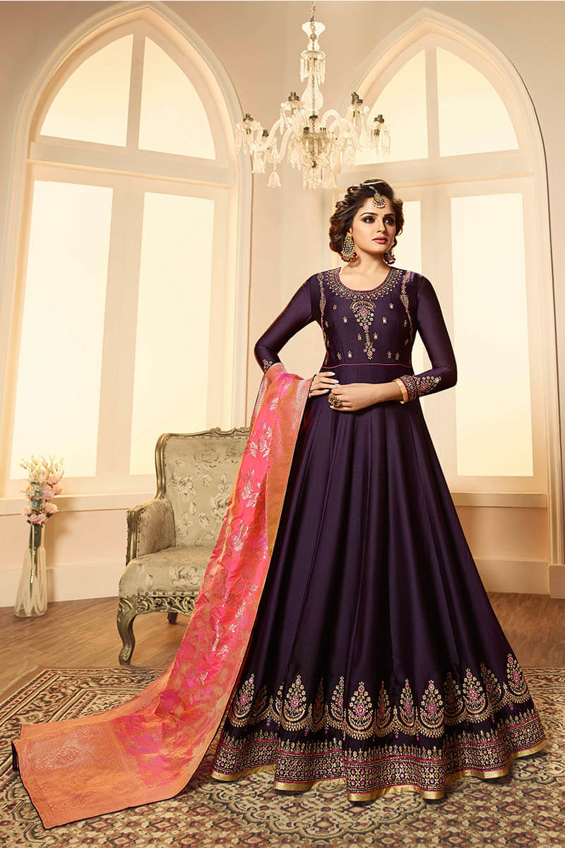 Get Gorgeous With Plum Violet Color Anarkali Style Satin Georgette Suit