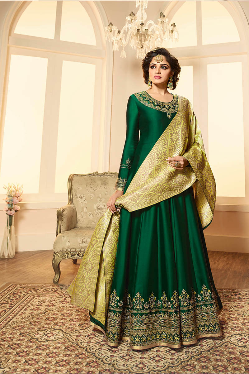 Get Gorgeous With Deep Green Color Anarkali Style Satin Georgette Suit