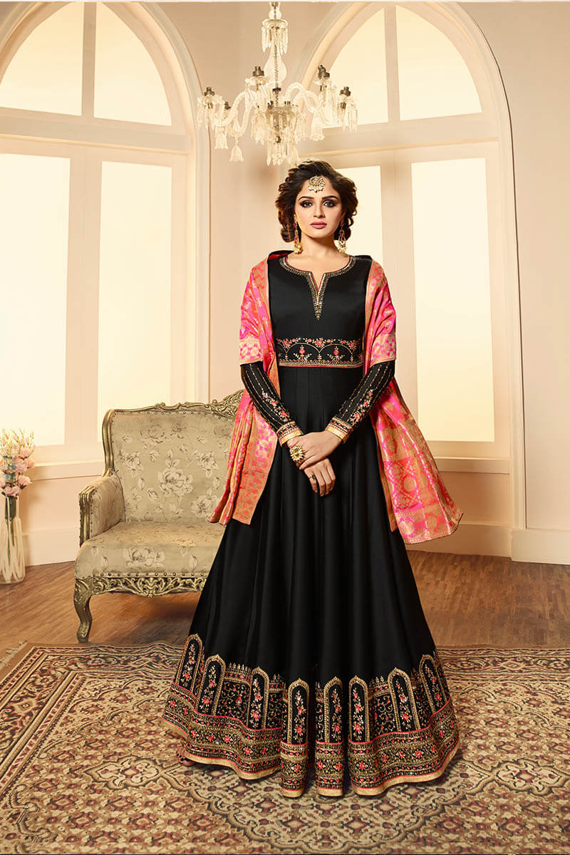 Get Gorgeous With Black Color Anarkali Style Satin Georgette Suit