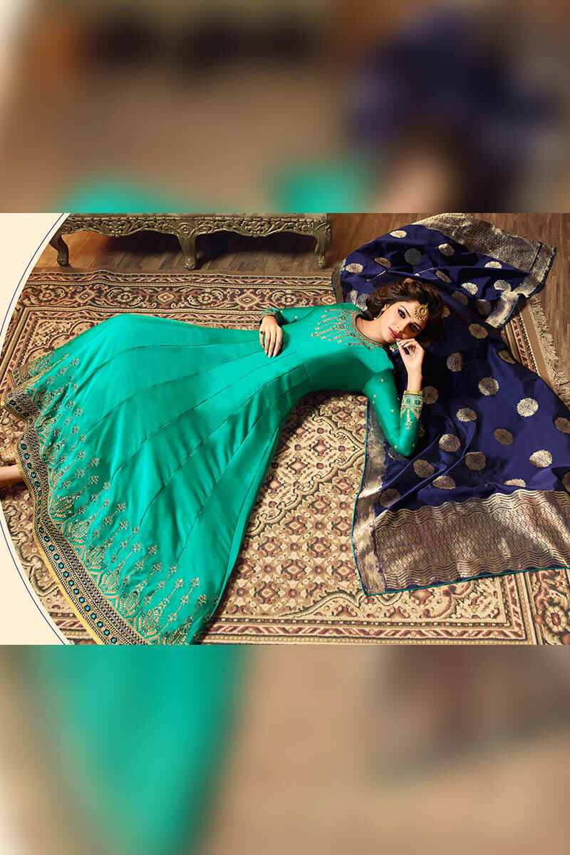 Get Gorgeous With Rama Green Color Anarkali Style Satin Georgette Suit