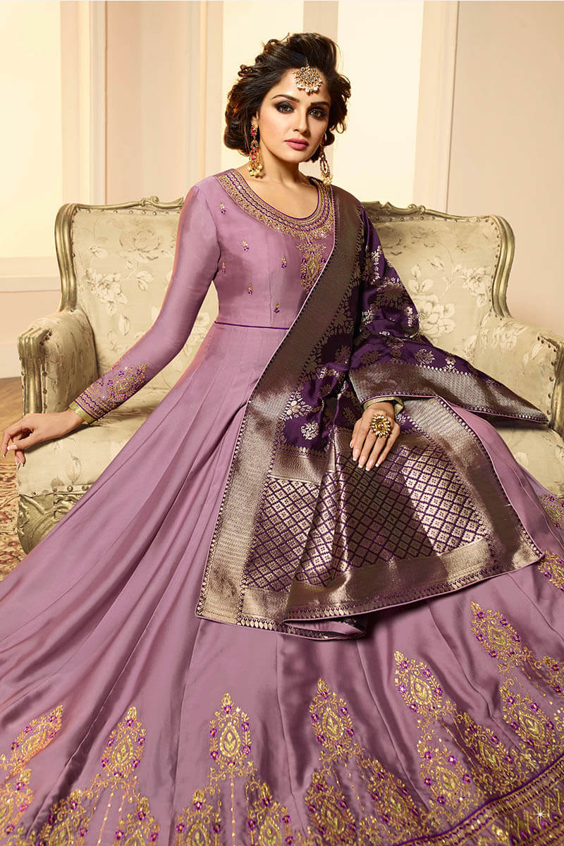 Get Gorgeous With Light Violet Color Anarkali Style Satin Georgette Suit