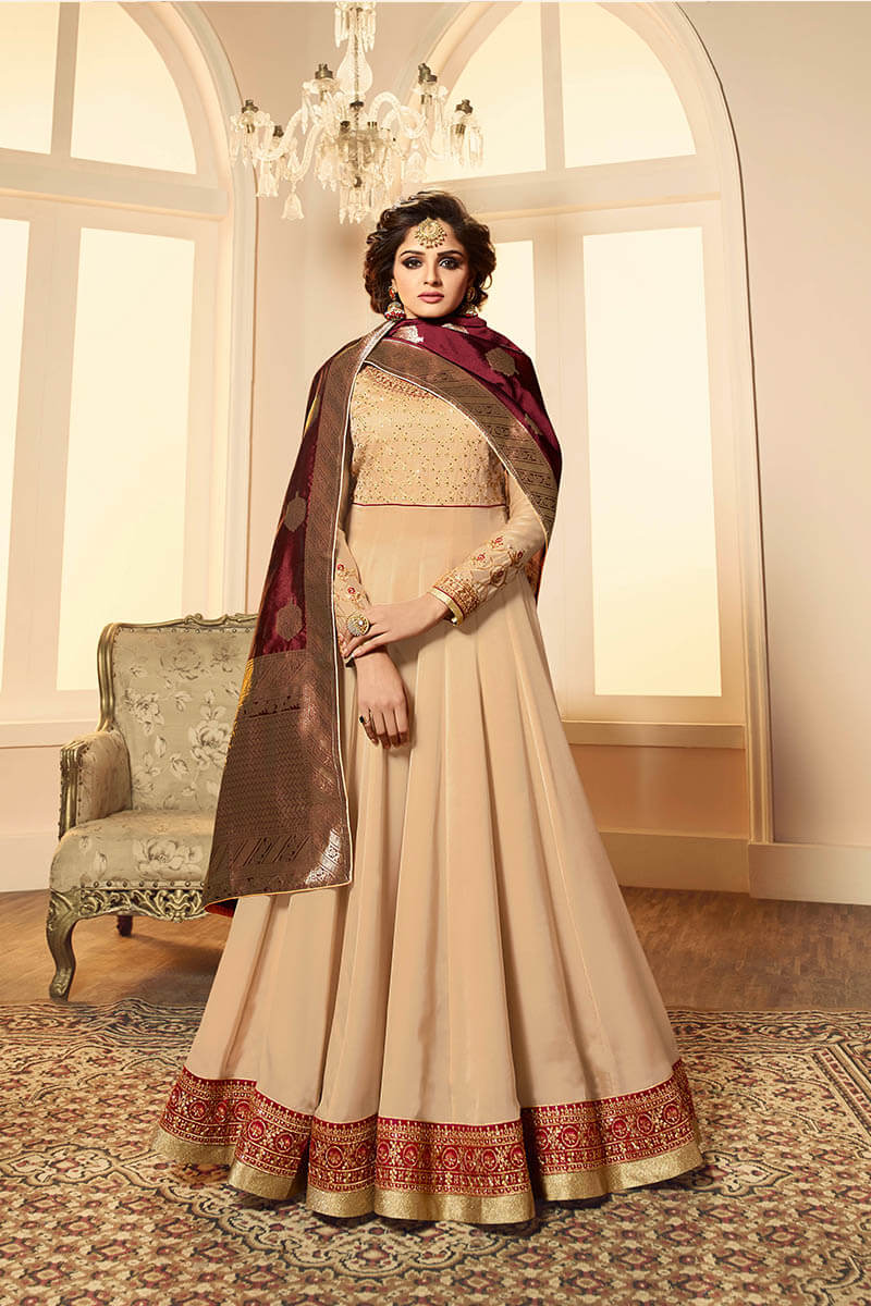 Get Gorgeous With Cream Color Anarkali Style Satin Georgette Suit