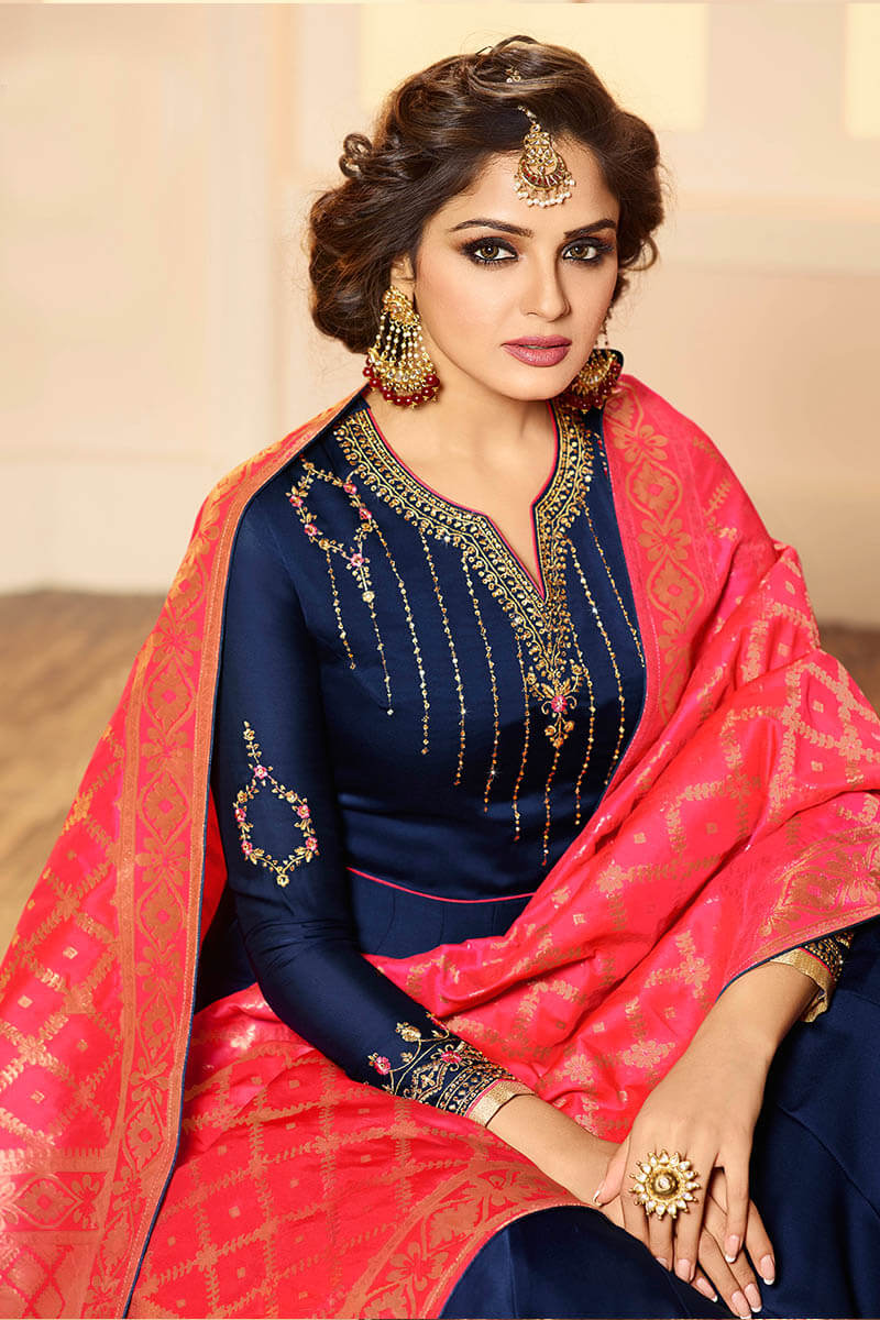 Get Gorgeous With Navy Blue Color Anarkali Style Satin Georgette Suit