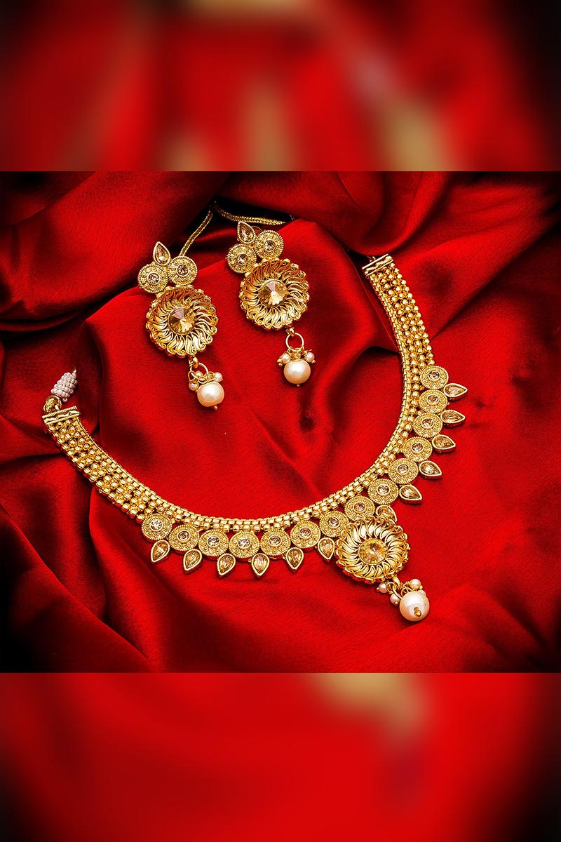 Ethnic Wear Designer Gold Plated Necklace Set with Earrings