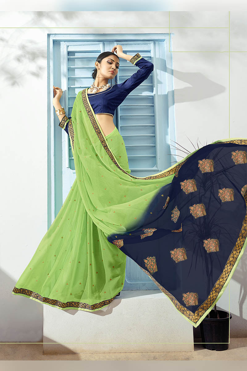 Apple Green & Blue Printed Pure Chiffon Casual Wear Saree