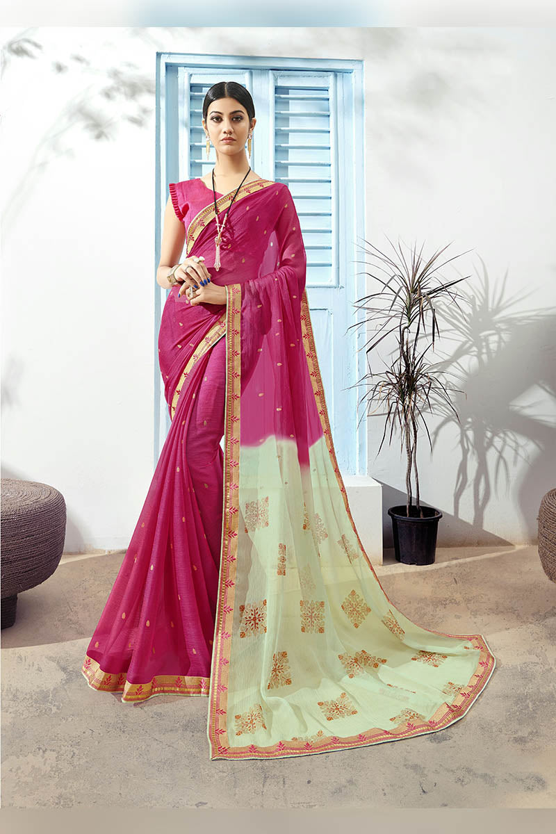 Plum Pink Color Printed Pure Chiffon Casual Wear Saree