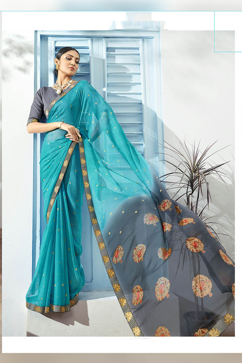 Sky Blue & Grey Color Printed Pure Chiffon Casual Wear Saree