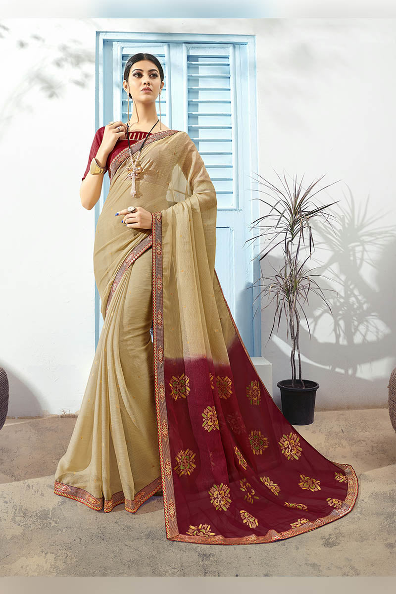 Beige & Maroon Color Printed Pure Chiffon Casual Wear Saree