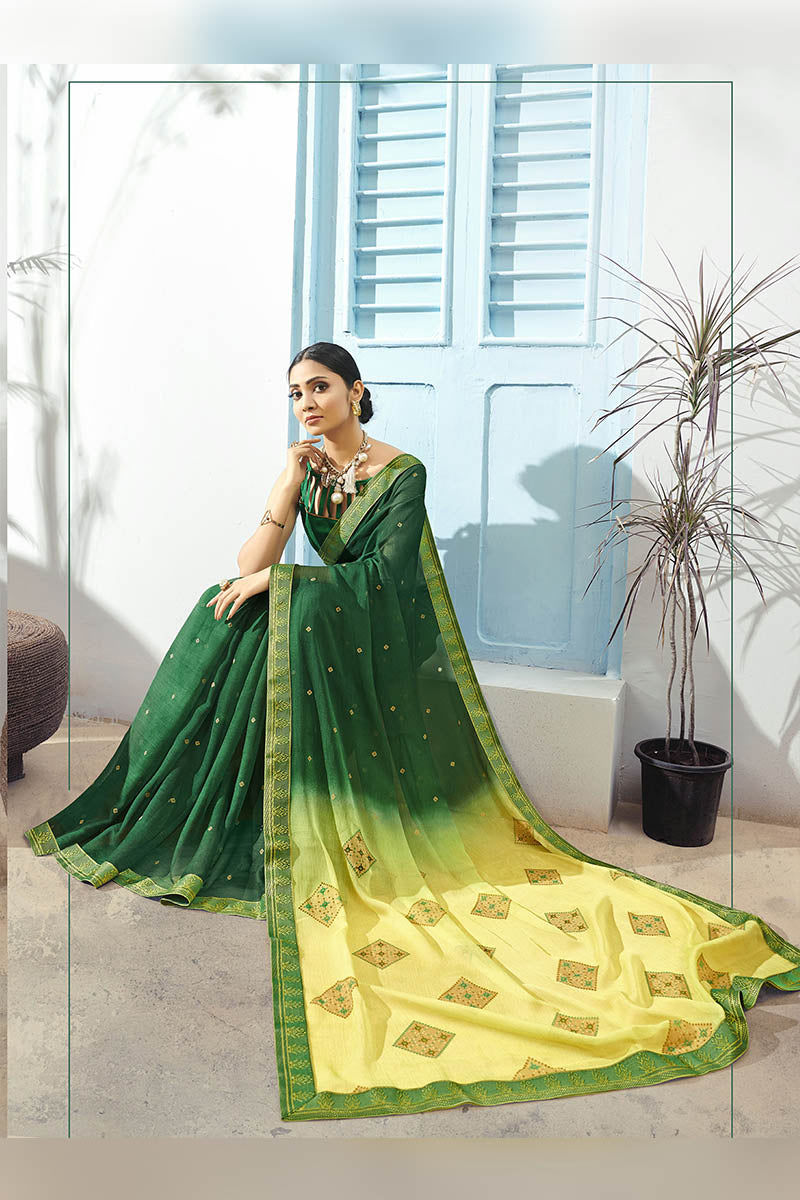 Forest Green Color Printed Pure Chiffon Casual Wear Saree