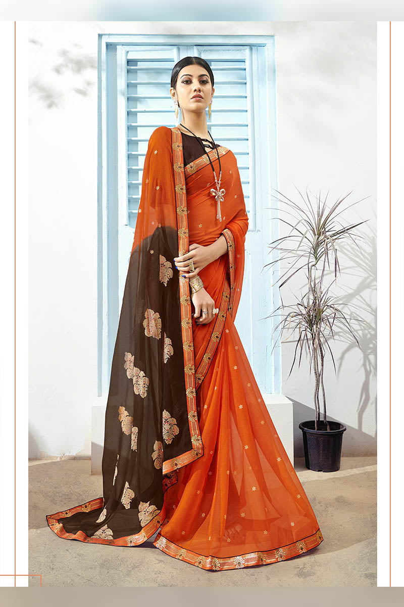 Dark Orange & Brown Color Printed Pure Chiffon Casual Wear Saree