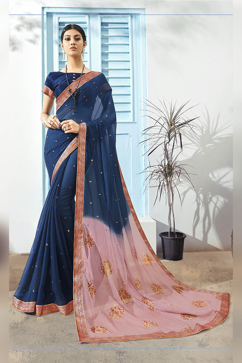 Navy Blue Color Printed Pure Chiffon Casual Wear Saree