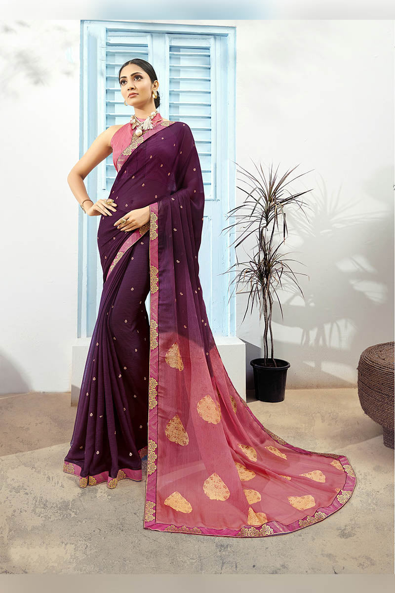 Berry Purple & Pink Color Printed Pure Chiffon Casual Wear Saree