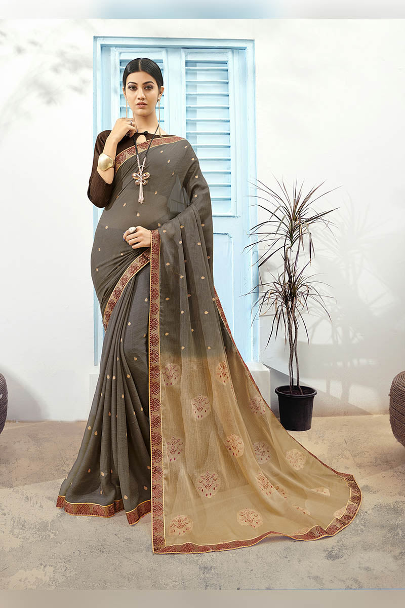 Dark Grey & Brown Color Printed Pure Chiffon Casual Wear Saree