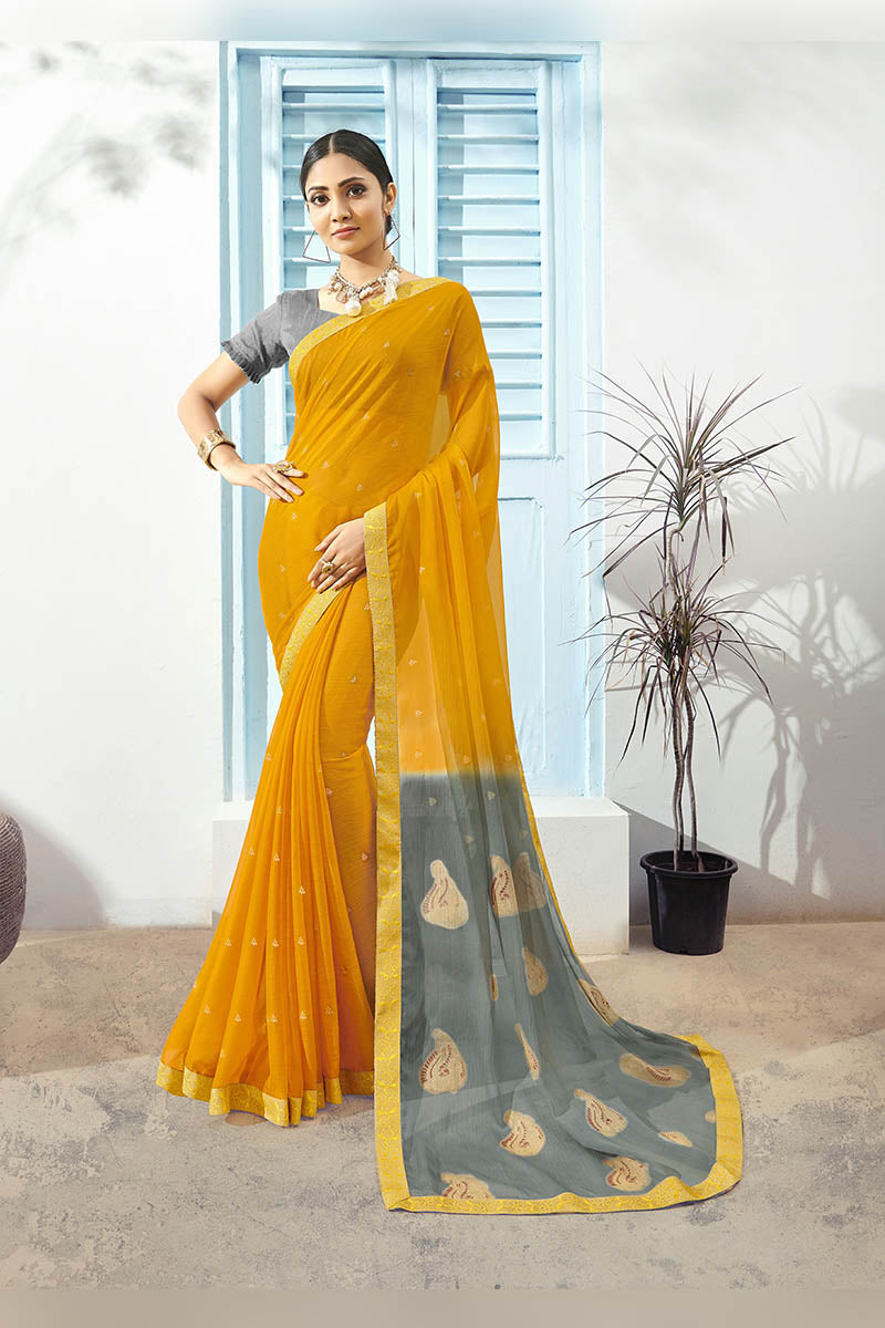 Yellow & Grey Color Printed Pure Chiffon Casual Wear Saree