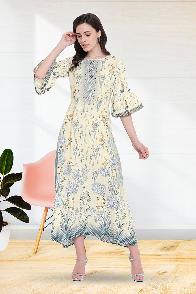 Stylish Printed Kurti for women in white Colour