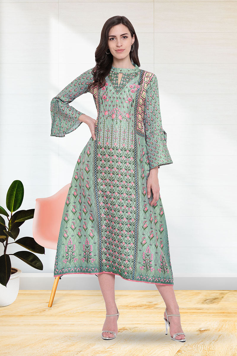 Stylish Printed Kurti for women in Seagreen Colour