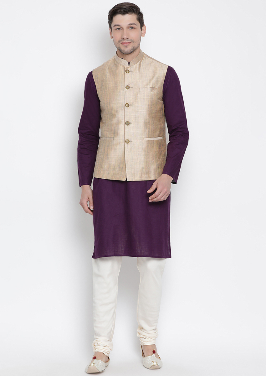 Traditional Kurta Pyjama with Jacket for men in Beige & Purple