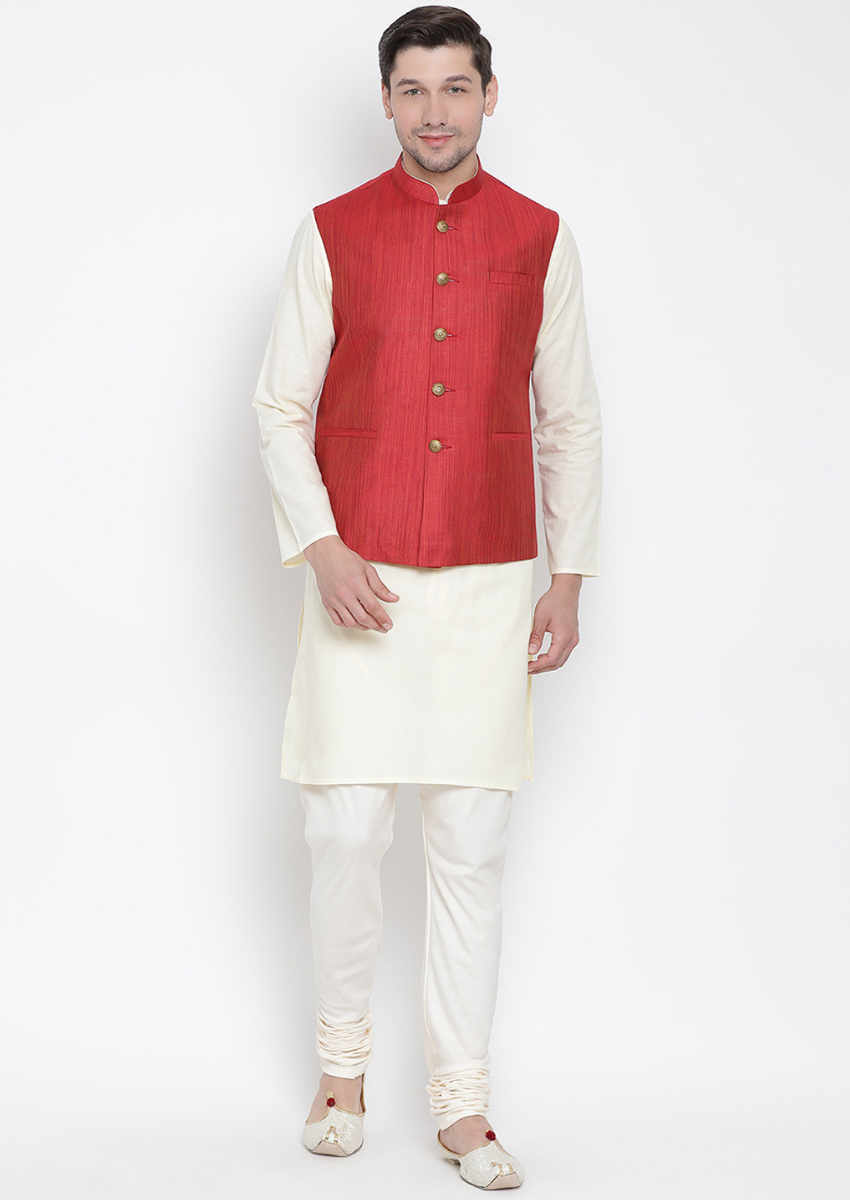 Traditional Kurta Pyjama with Jacket for men in Red & Cream