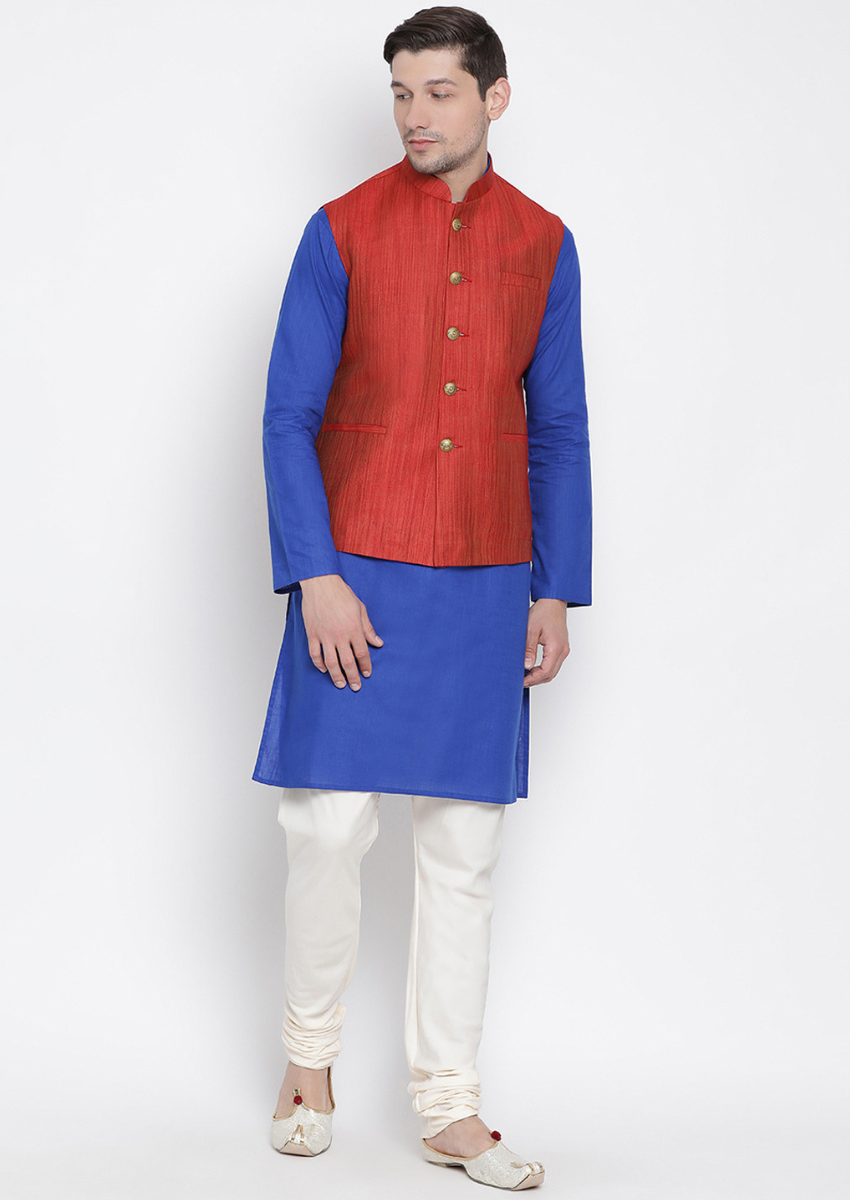 Traditional Kurta Pyjama with Jacket for men in Red & Royal Blue