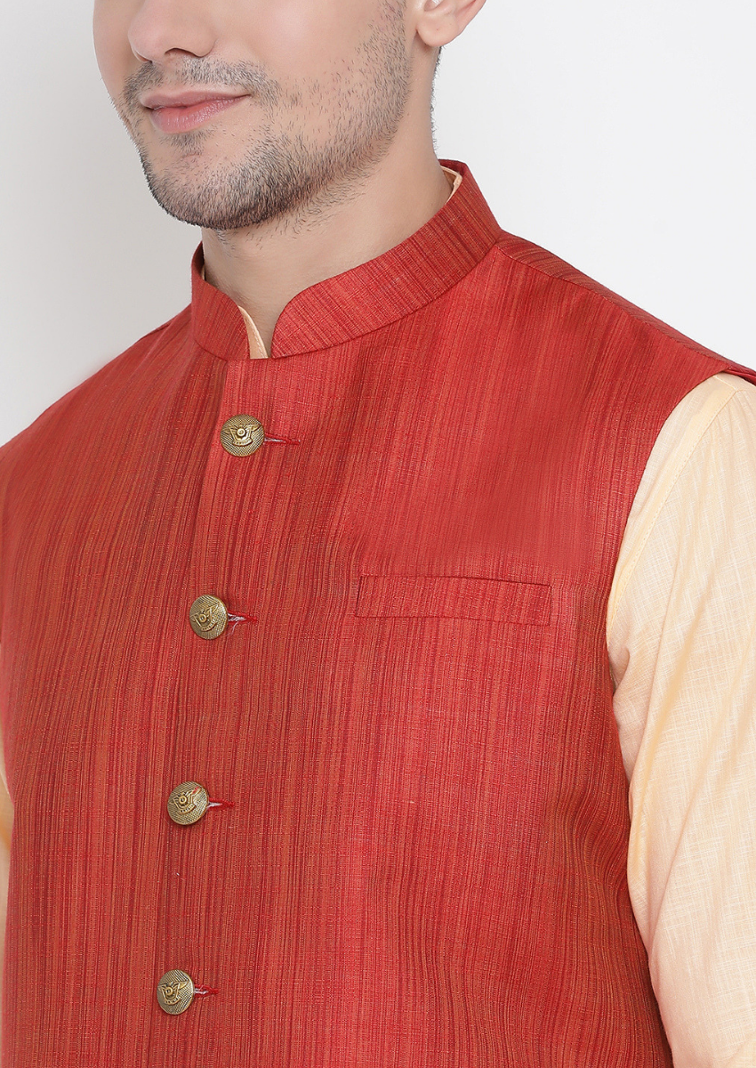 Traditional Kurta Pyjama with Jacket for men in Red & Fawn