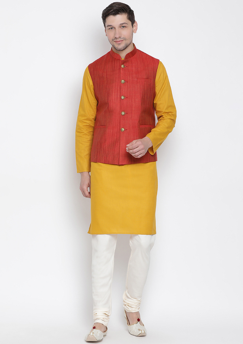Traditional Kurta Pyjama with Jacket for men in Red & Mustard