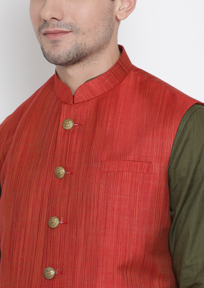 Traditional Kurta Pyjama with Jacket for men in Maroon & Mehandi