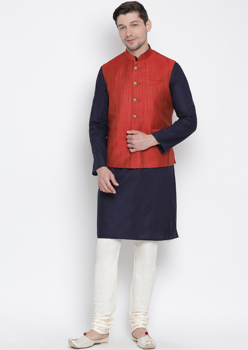 Traditional Kurta Pyjama with Jacket for men in Maroon & Navy Blue