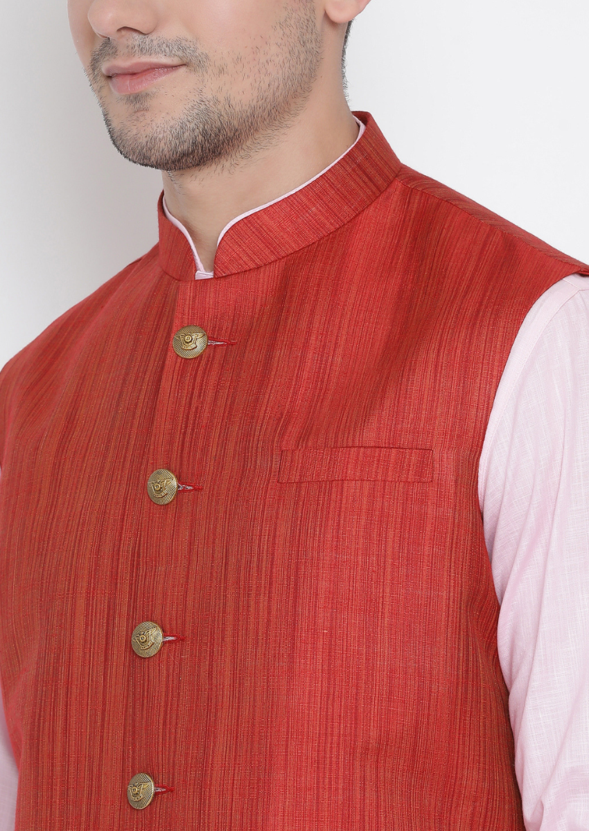 Traditional Kurta Pyjama with Jacket for men in Maroon & Baby Pink
