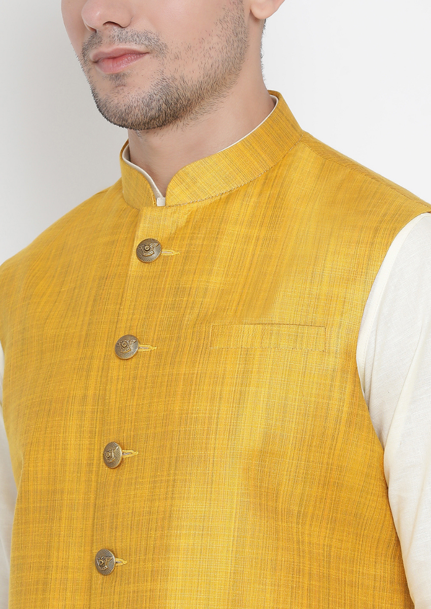 Traditional Kurta Pyjama with Jacket for men in Mustard & Cream