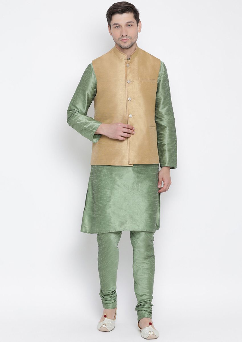 Traditional Kurta Pyjama with Jacket for men in Beige & Mint Green