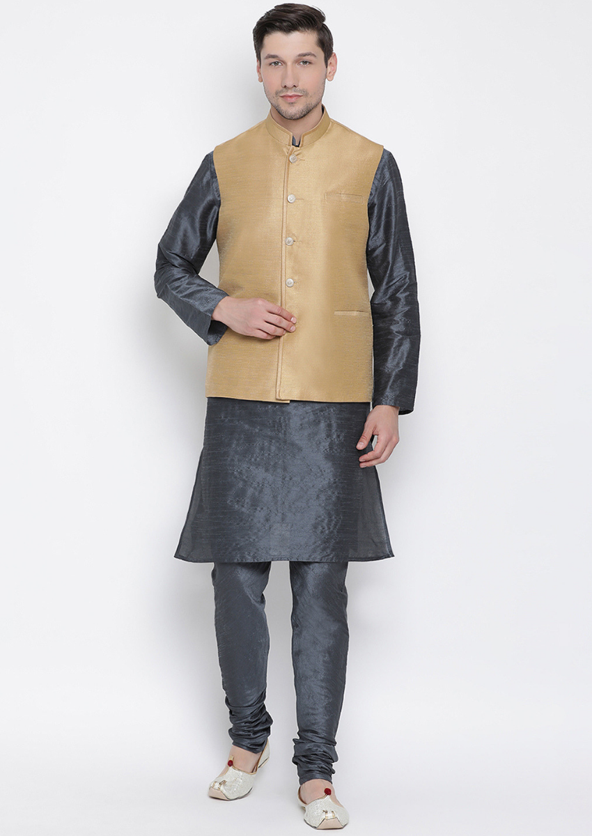 Traditional Kurta Pyjama with Jacket for men in Beige & Slate