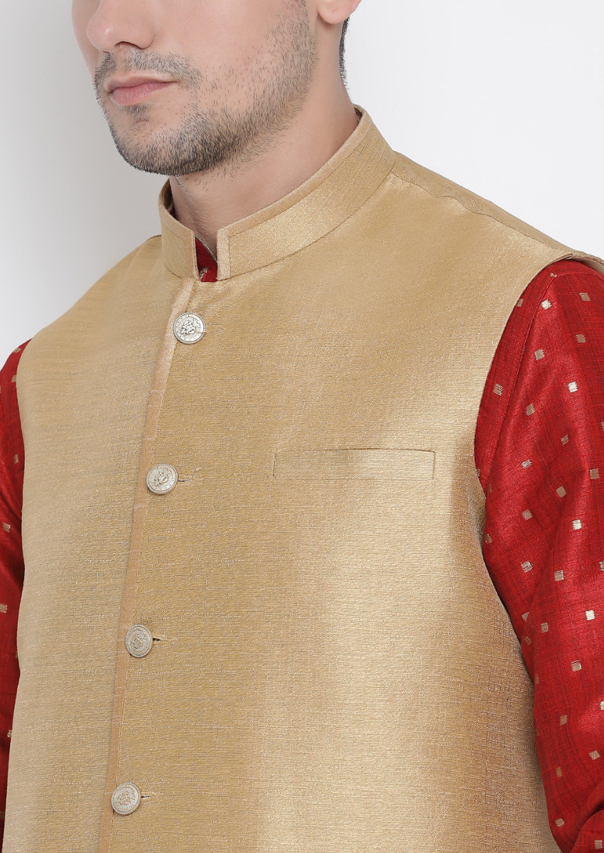 Traditional Kurta Pyjama with Jacket for men in Red & Beige