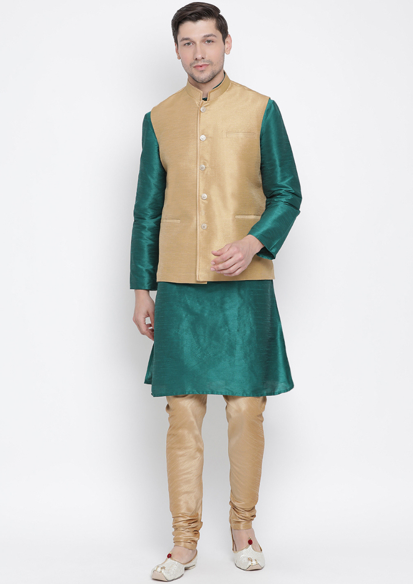 Traditional Kurta Pyjama with Jacket for men in Green & Beige