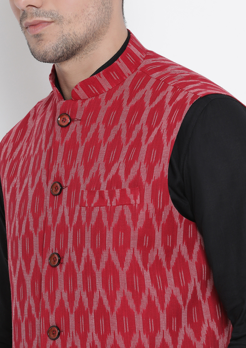 Traditional Kurta Pyjama with Jacket for men in Maroon & Black