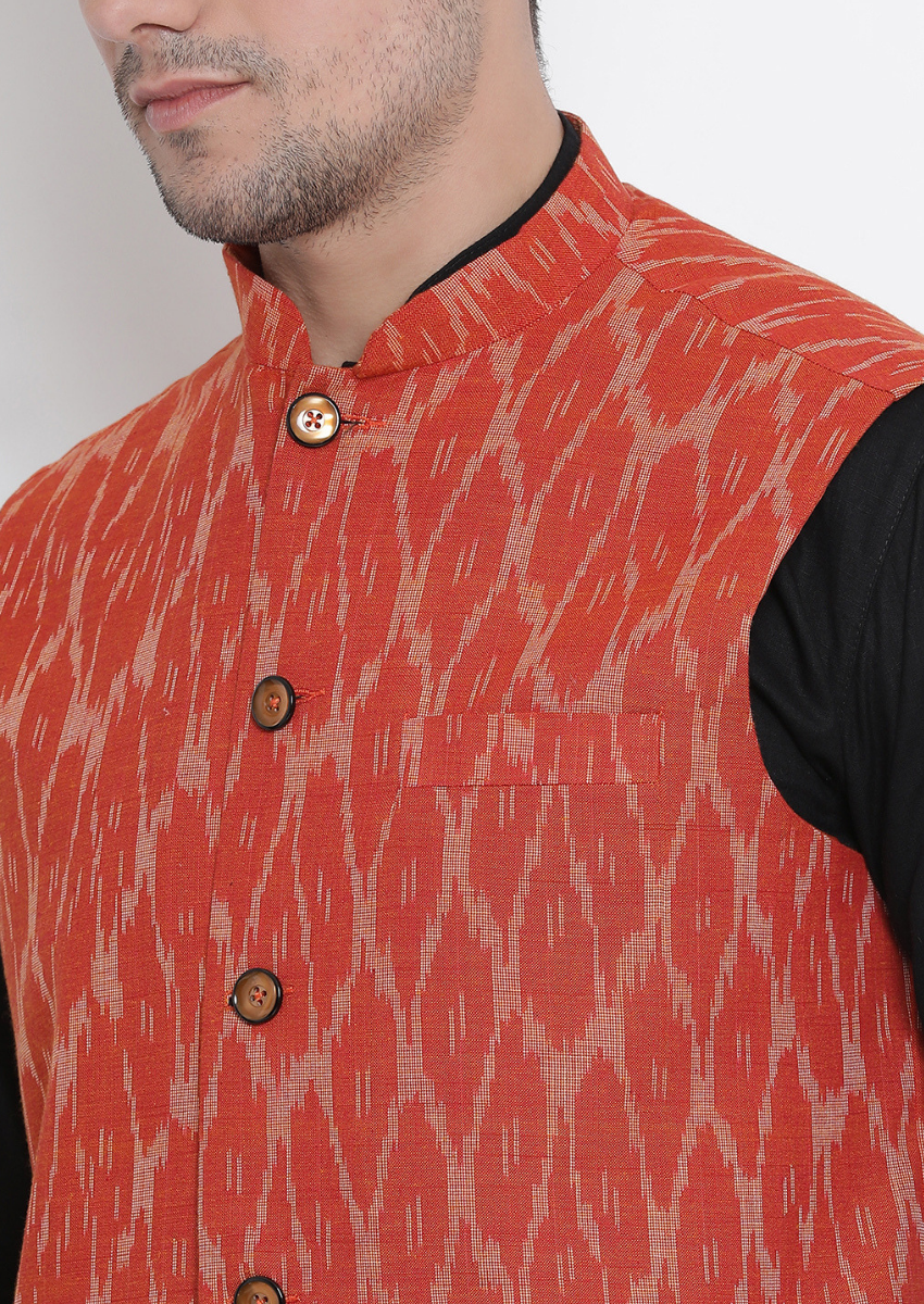 Traditional Kurta Pyjama with Jacket for men in Black & Orange