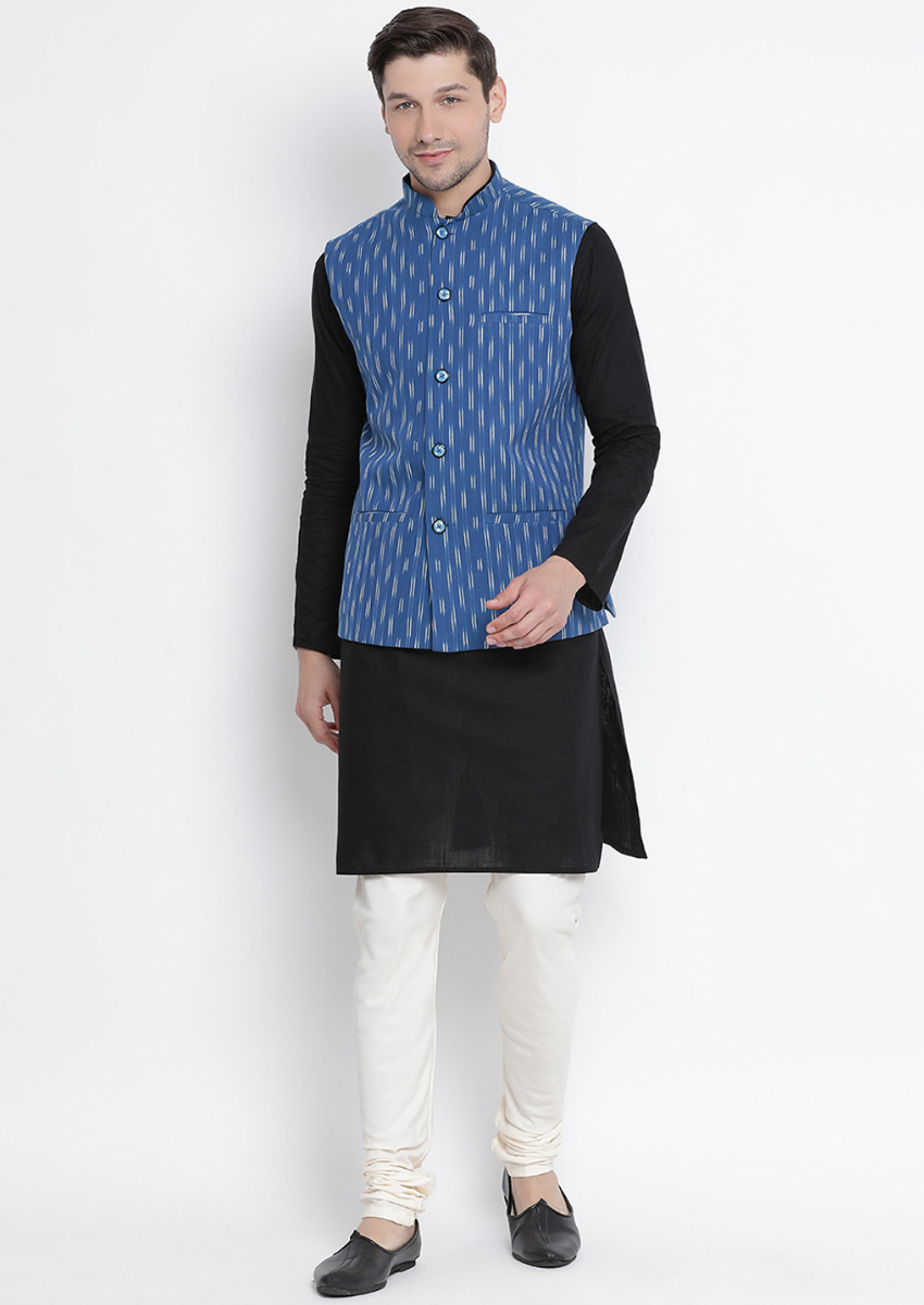 Traditional Kurta Pyjama with Jacket for men in Royal Blue & Black