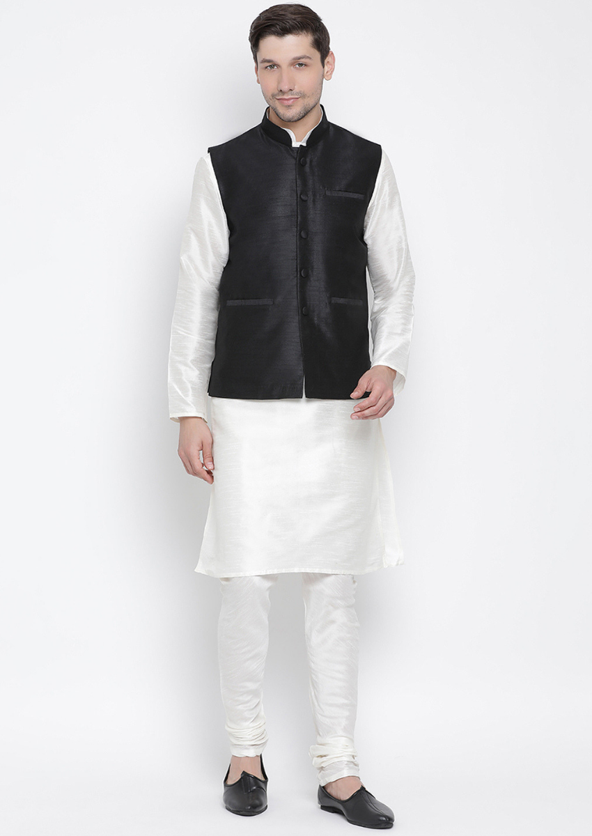 Traditional Kurta Pyjama with Jacket for men in Black & Offwhite