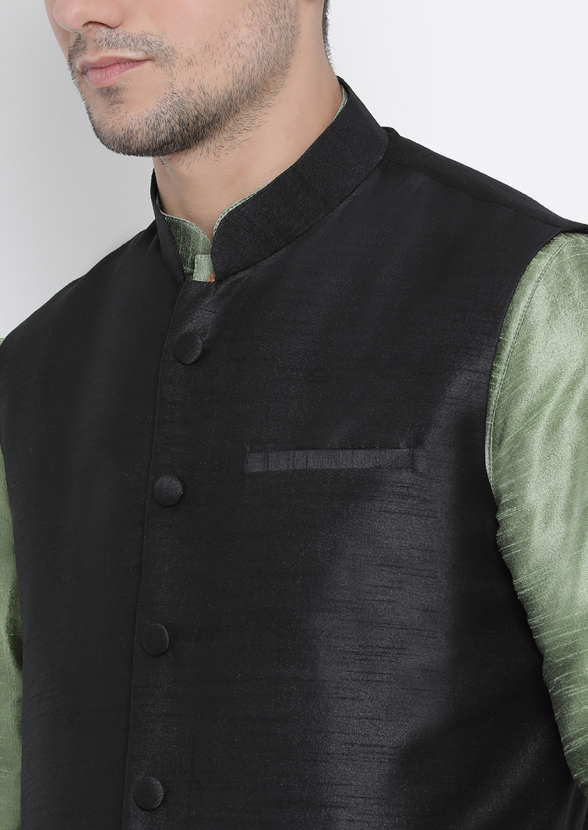 Traditional Kurta Pyjama with Jacket for men in Black & Mint Green