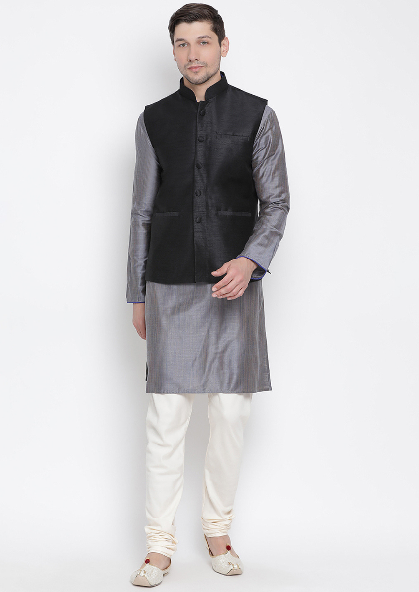 Traditional Kurta Pyjama with Jacket for men in Black & Grey