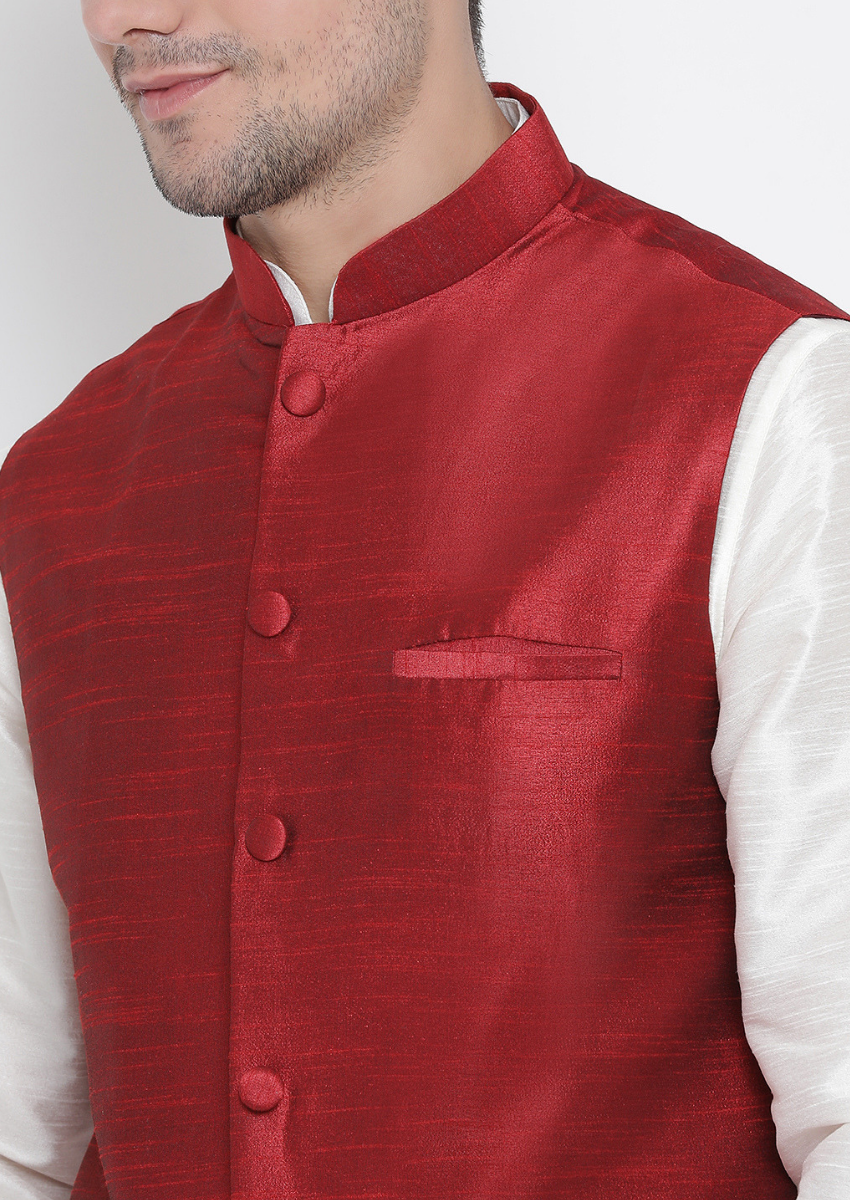 Traditional Kurta Pyjama with Jacket for men in OffWhite & Maroon