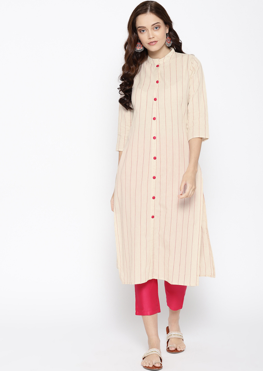 Cream Color Casual Wear Ready-made Cotton Long Kurti